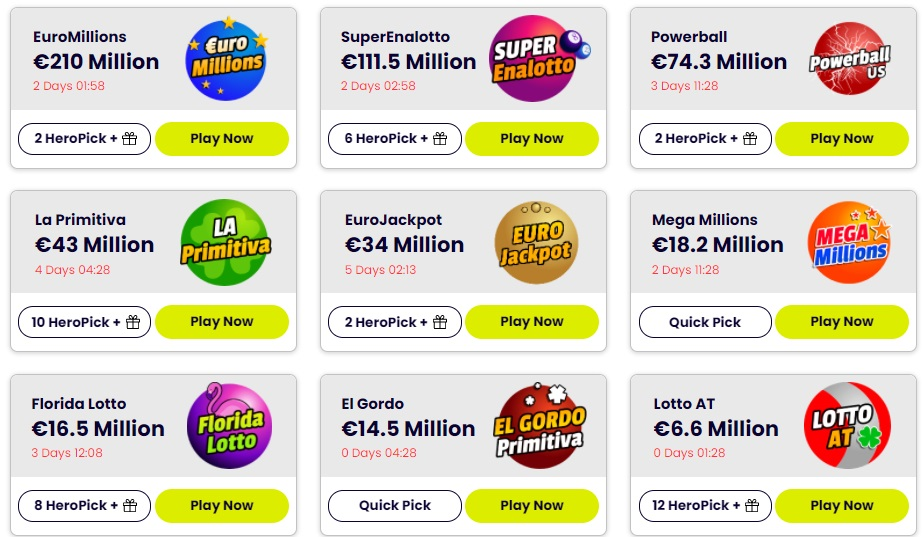 Play Lotto Online - Lottery Heroes